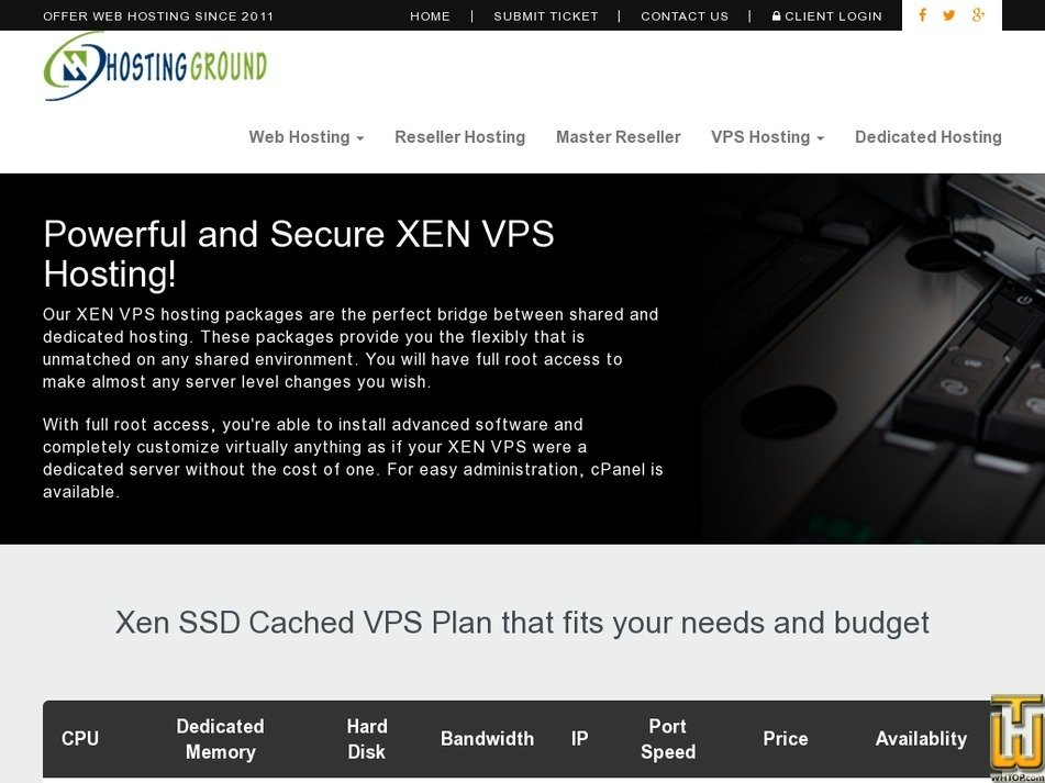 Screenshot of HGX VPS-5 from hostingground.com