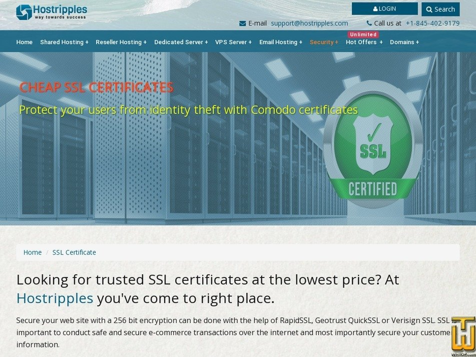 Screenshot of Essential SSL from hostripples.com