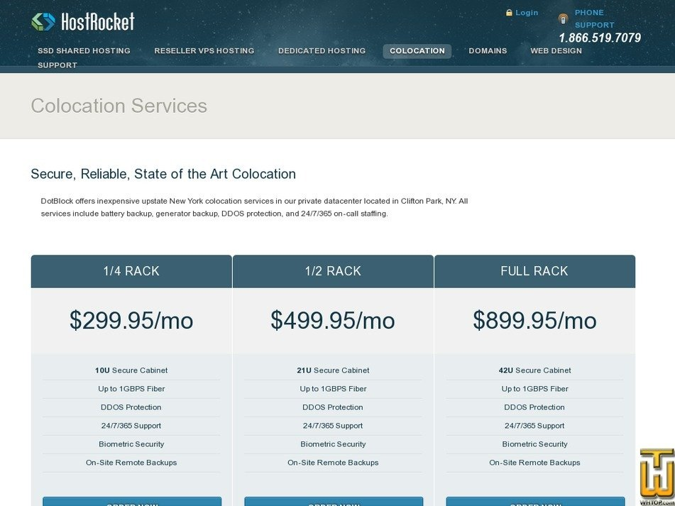 Screenshot of 1/4 RACK (10U ) in Clifton Park, NY from hostrocket.com