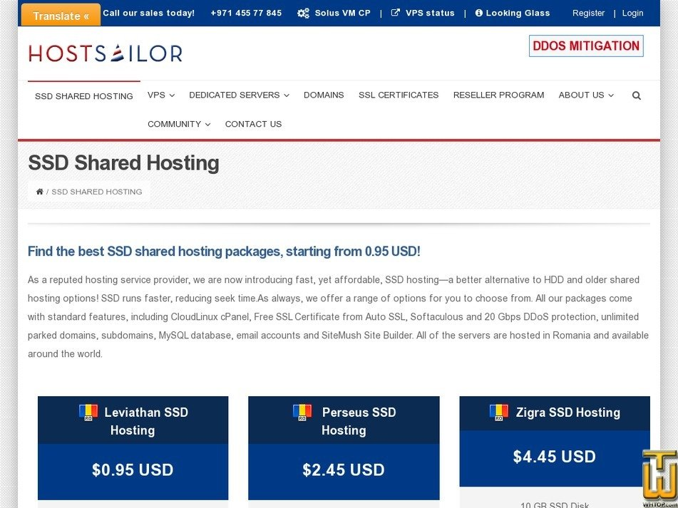 Screenshot of Leviathan SSD Hosting from hostsailor.com
