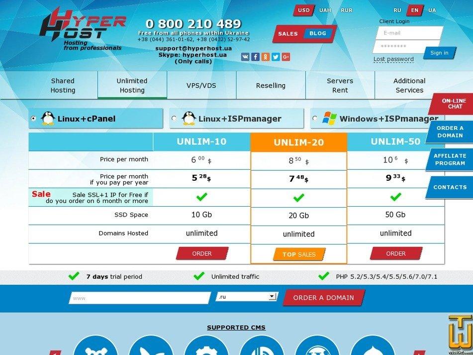 Screenshot of UNLIM-50 from hyperhost.ua