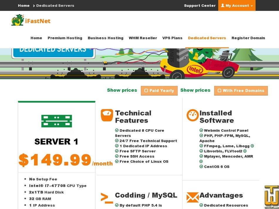 Screenshot of Server 1 from ifastnet.com