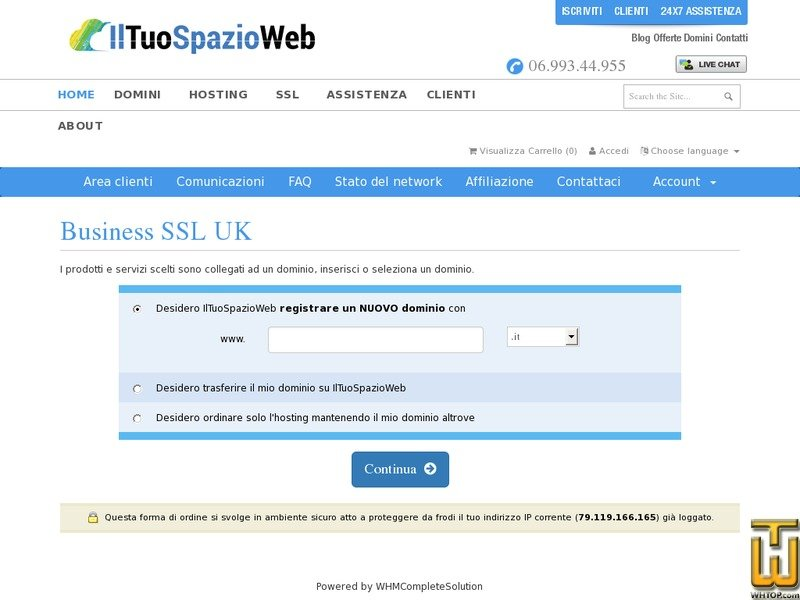 Screenshot of Business SSL from iltuospazioweb.it