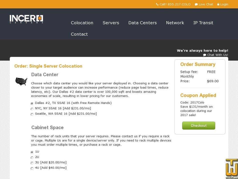 Screenshot of 1U Single Server - NYC, NY from incero.com