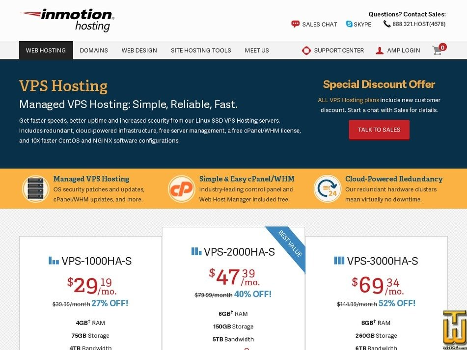Screenshot of VPS-1000HA-S from inmotionhosting.com