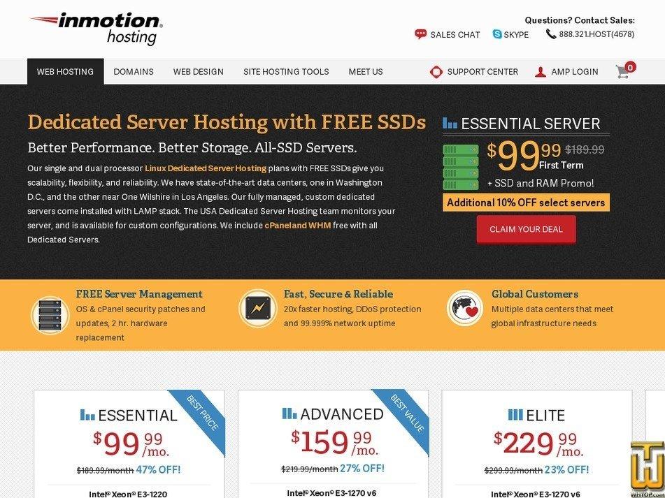 Screenshot of Essential from inmotionhosting.com