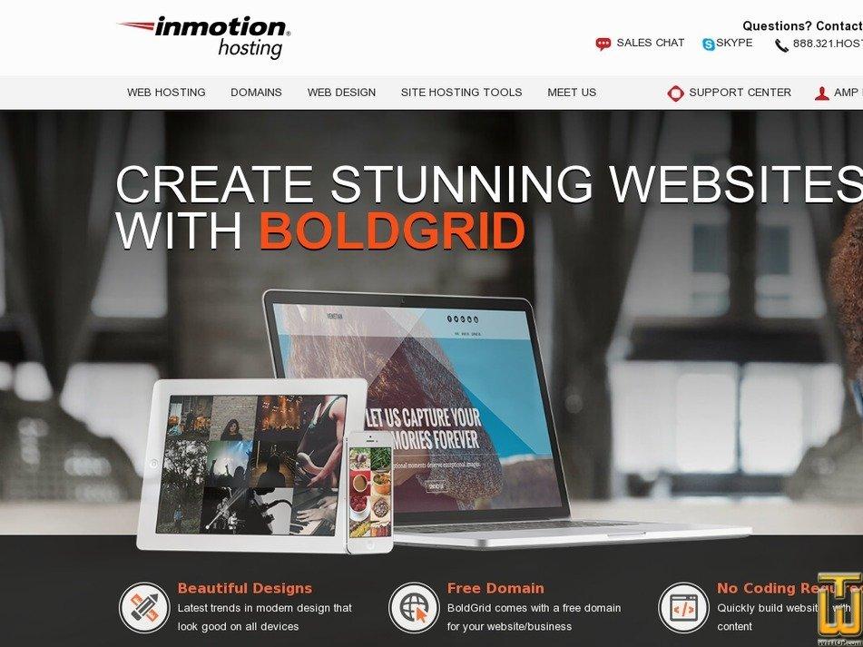 Screenshot of BoldGrid from inmotionhosting.com