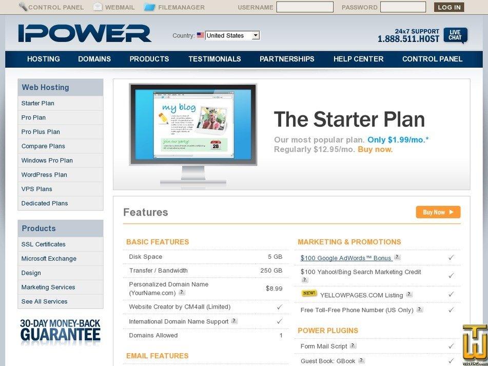 Screenshot of Starter from ipower.com