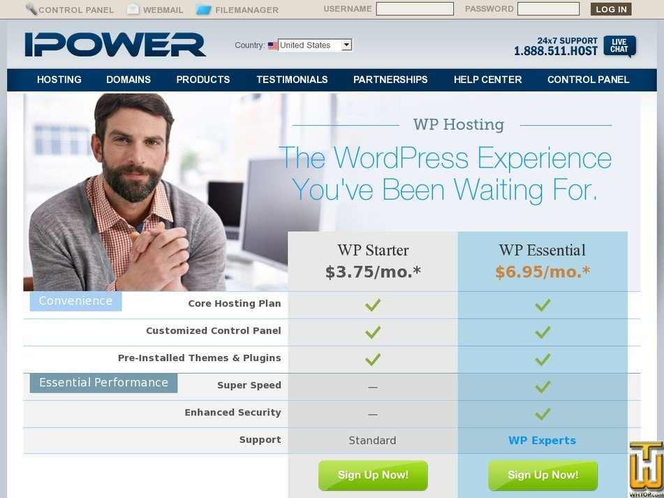 Screenshot of WP Starter from ipower.com