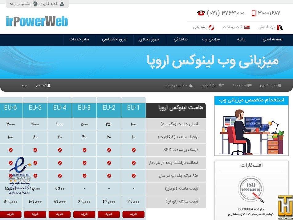 Screenshot of F from irpowerweb.com