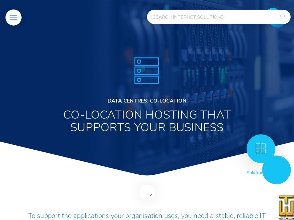 Screenshot of Co-location hosting from is.co.za