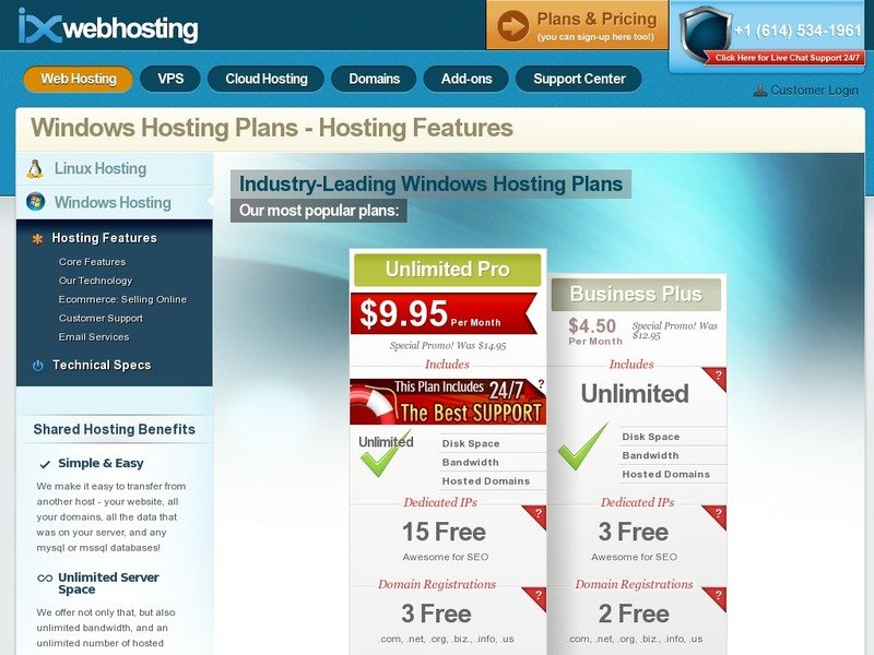 Screenshot of Business Plus from ixwebhosting.com