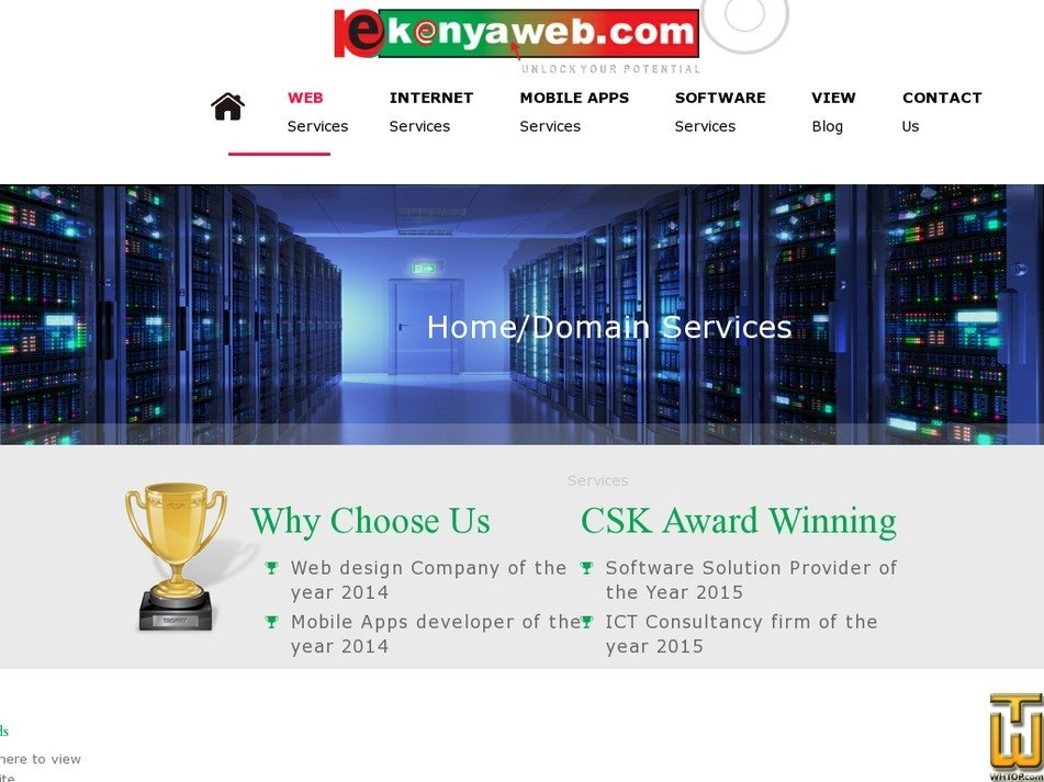 Screenshot of .com .net .org .biz .info .name .mobi from kenyaweb.com