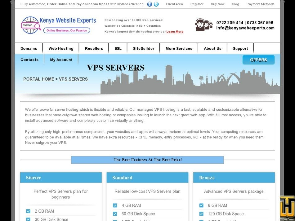 Screenshot of Semi Dedicated Server from kenyawebexperts.com