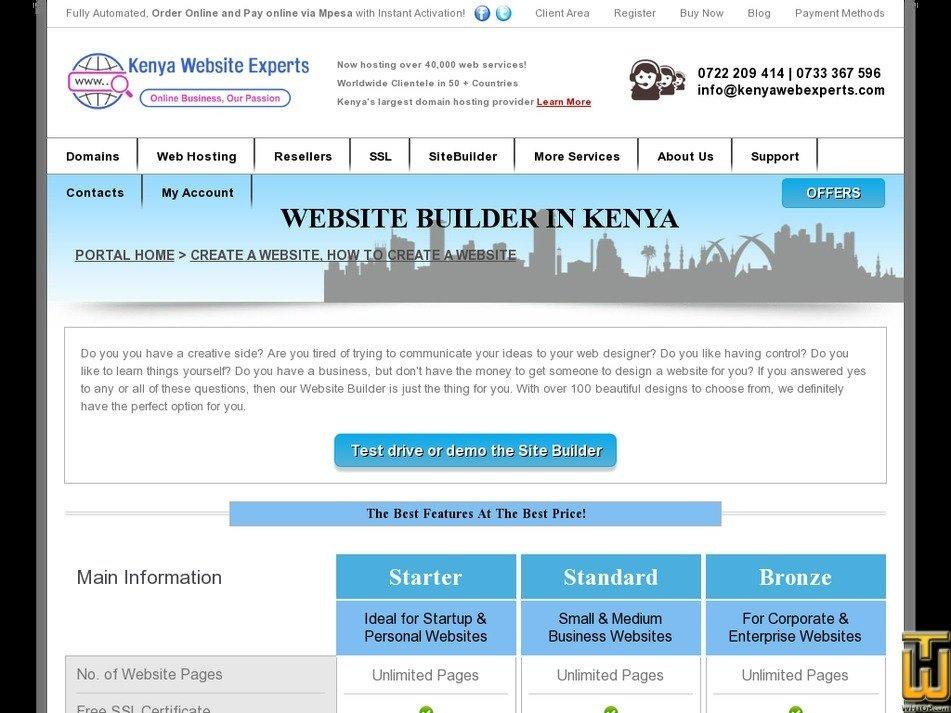 Screenshot of Website Builder from kenyawebexperts.com