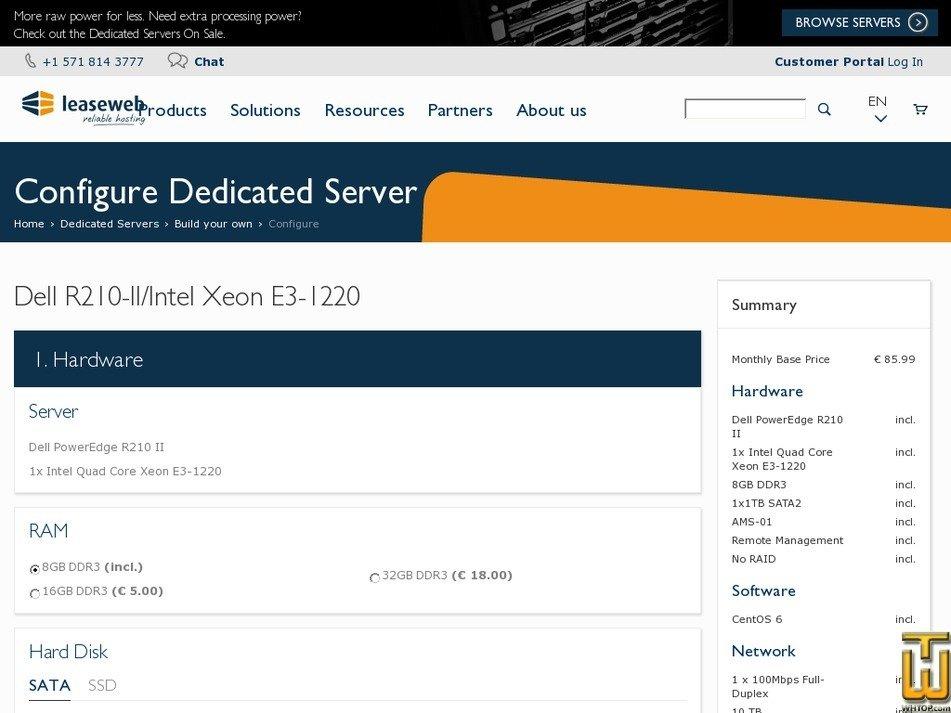Screenshot of Intel Quad Core Xeon E3-1220 - NL from leaseweb.com