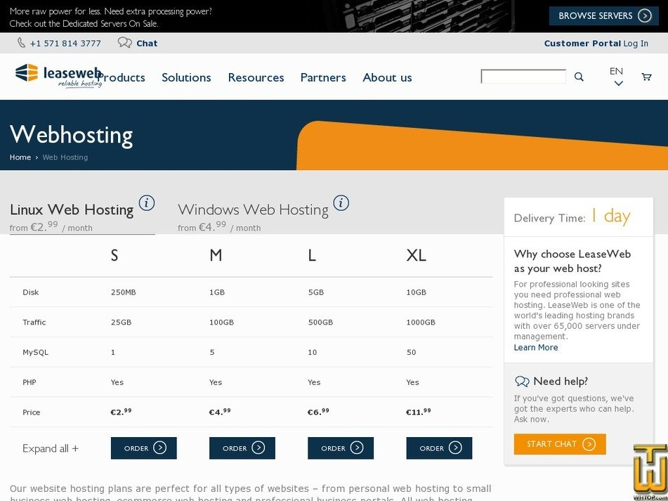 Screenshot of S from leaseweb.com