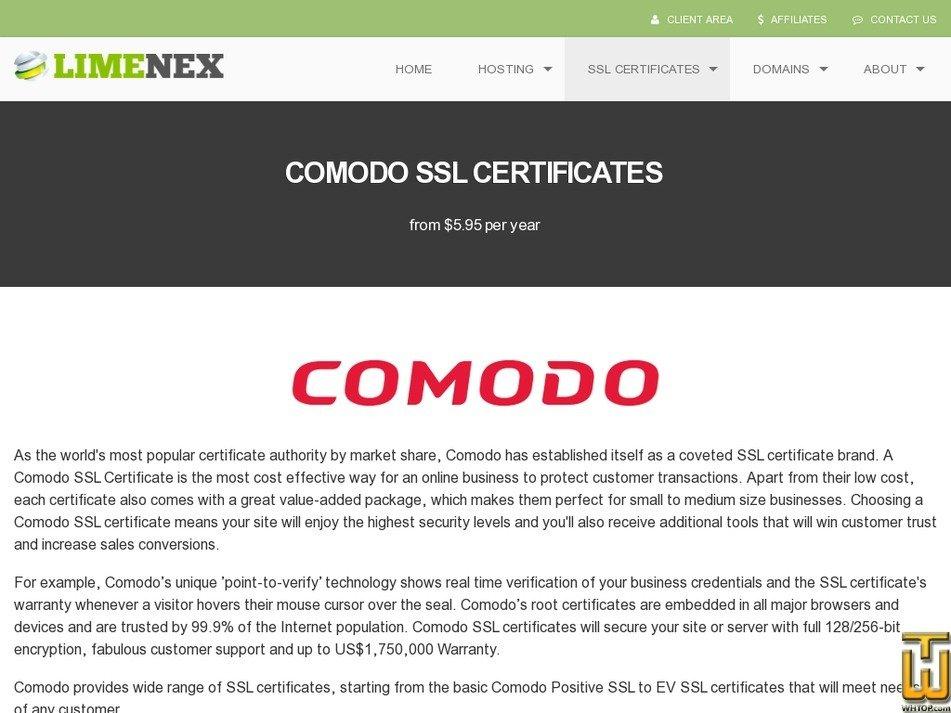 Screenshot of Comodo Positive SSL from limenex.com