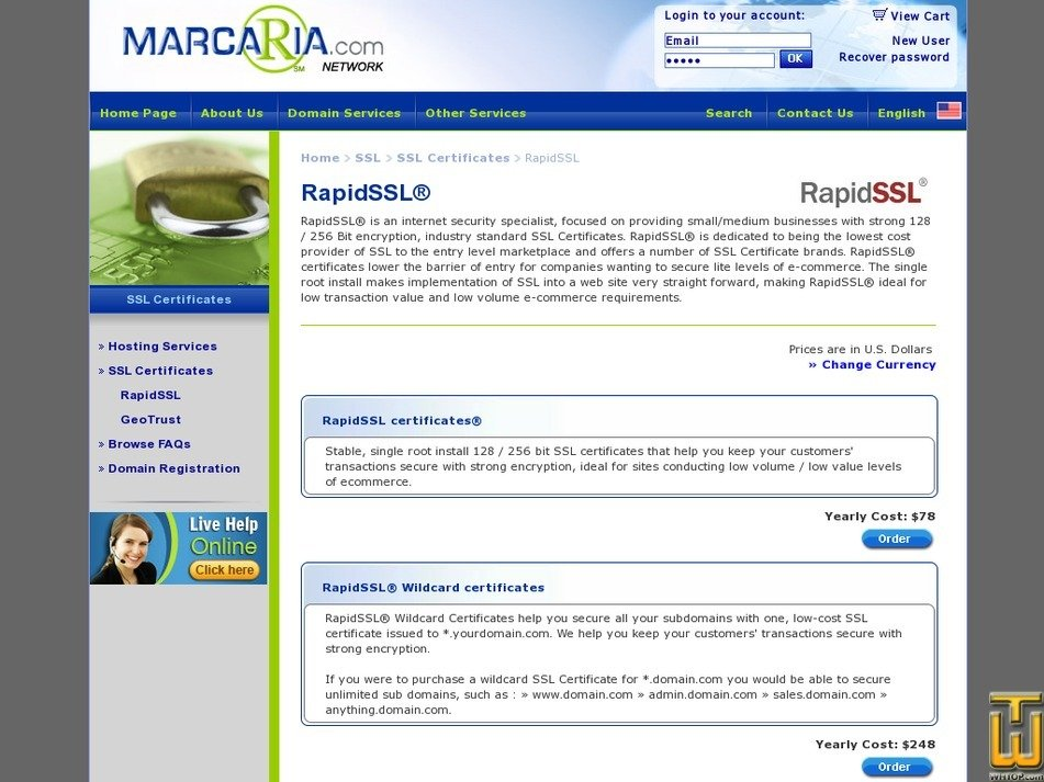 Screenshot of RapidSSL Wildcard from marcaria.com