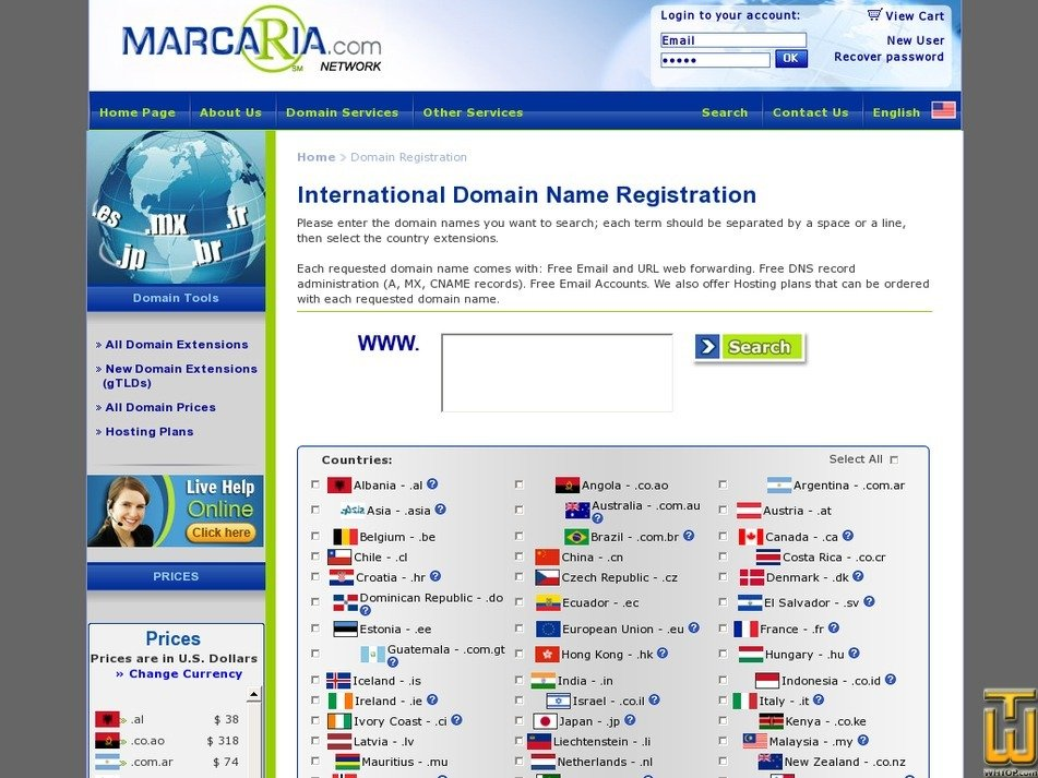 Screenshot of .com from marcaria.com