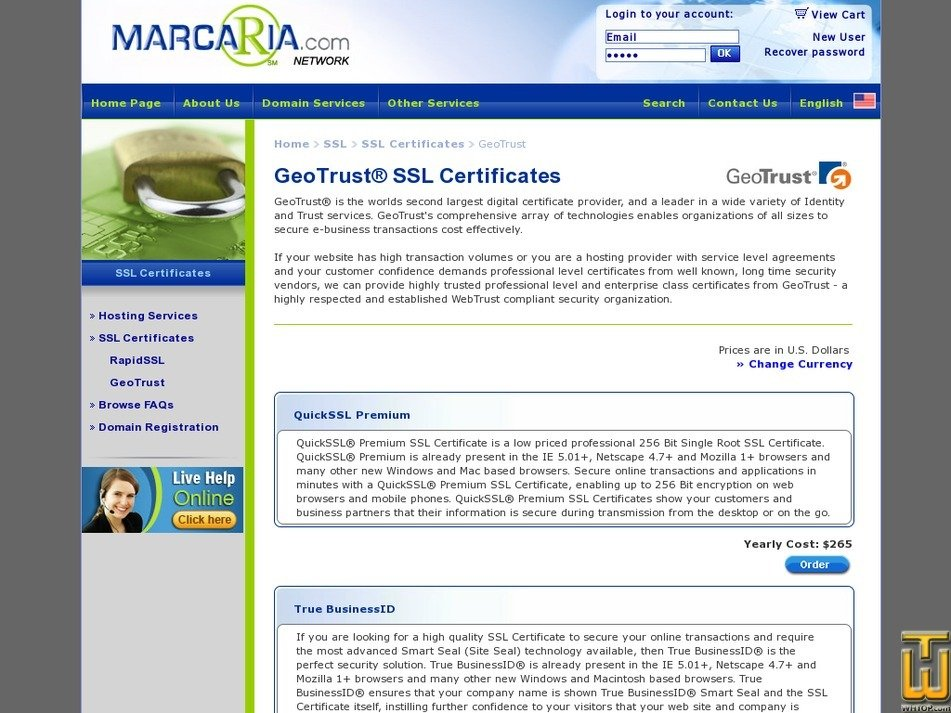 Screenshot of QuickSSL Premium from marcaria.com