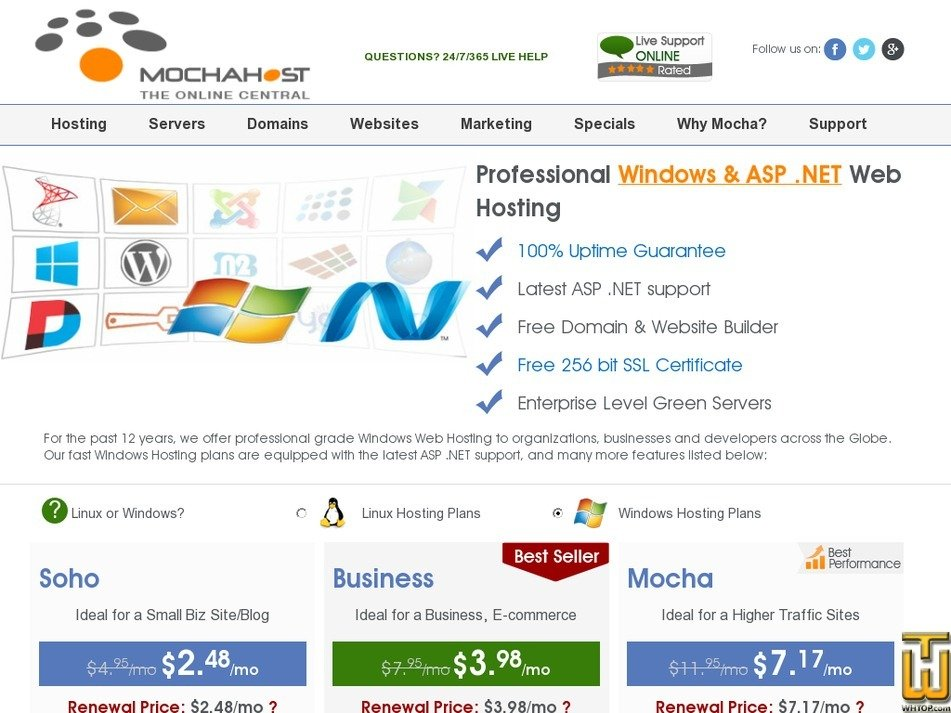 Screenshot of Business from mochahost.com