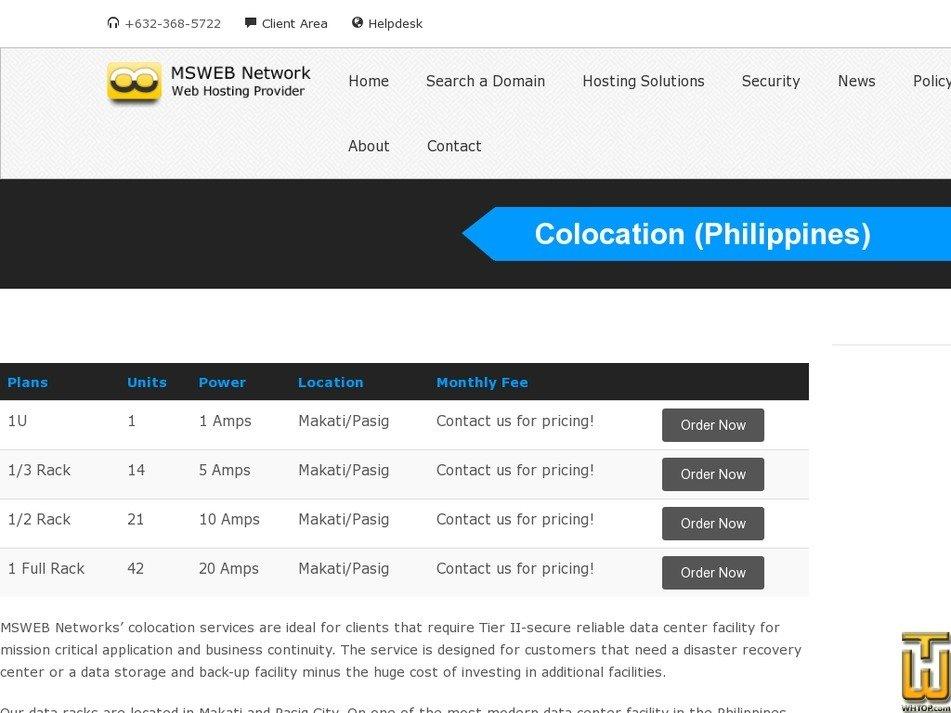 Screenshot of 1U - Makati/Pasig from mswebnetwork.net