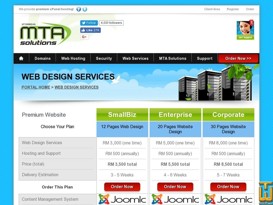 Screenshot of Premium Web Design Services from mtasolutions.com.my