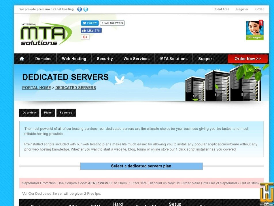 Screenshot of Powerful Dedicated Server from mtasolutions.com.my