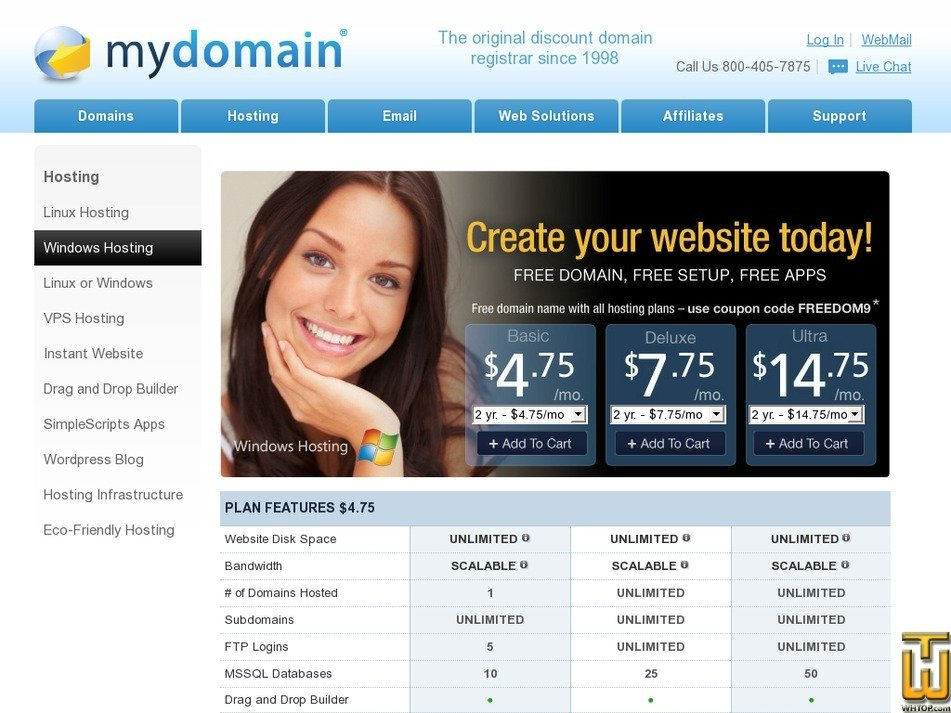 Screenshot of Basic from mydomain.com
