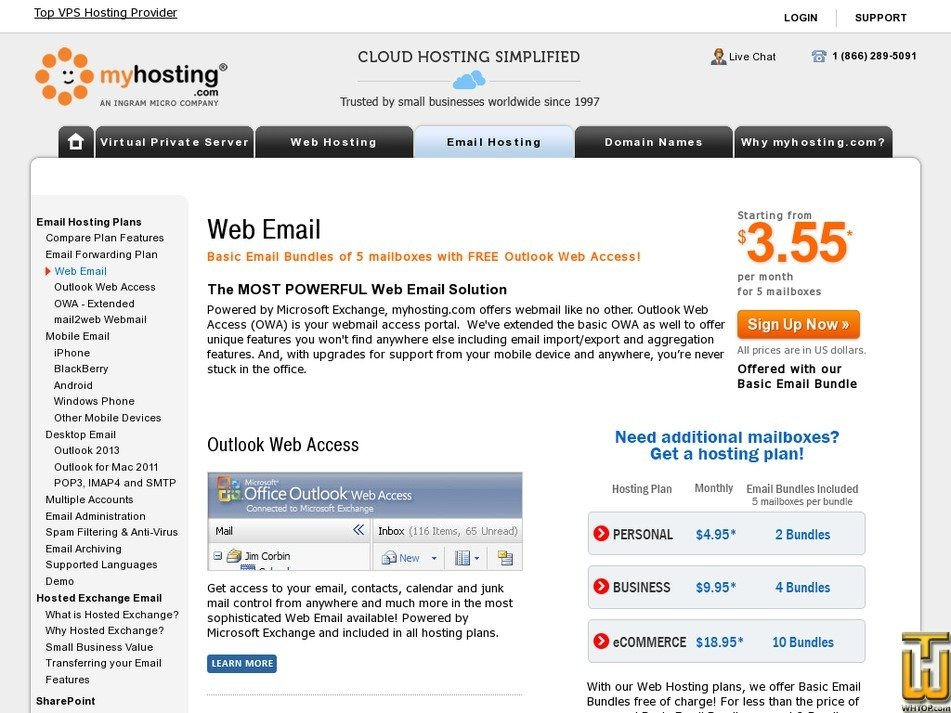 Screenshot of Web Email from myhosting.com