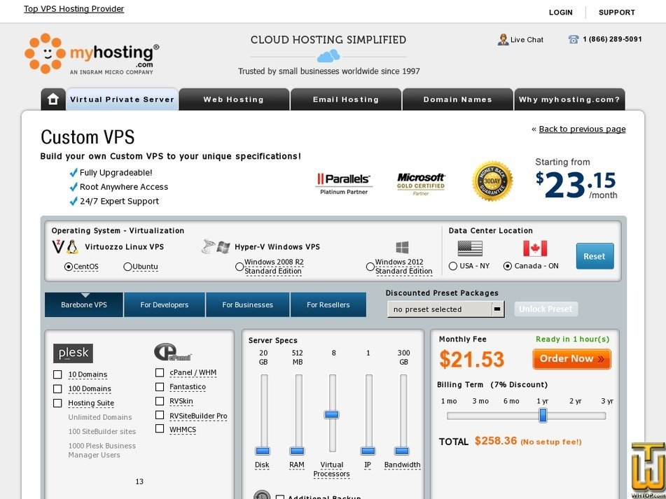 Screenshot of Custom VPS from myhosting.com