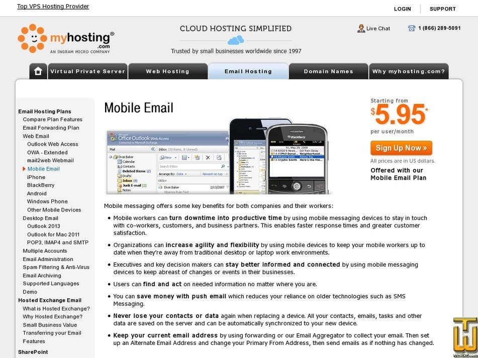 Screenshot of Mobile Email from myhosting.com