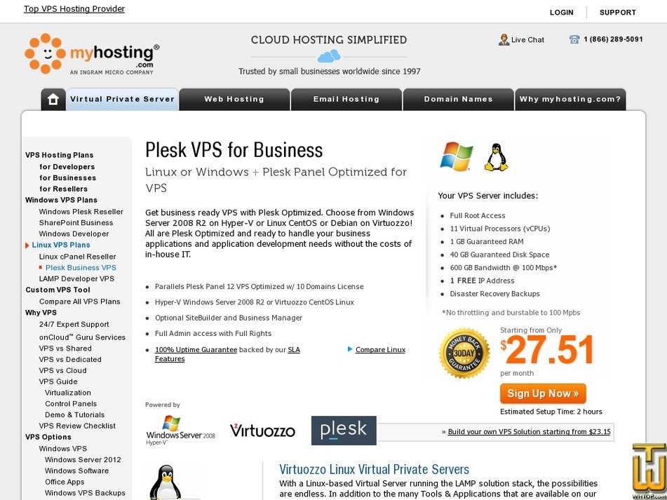 Screenshot of Plesk VPS for Business from myhosting.com
