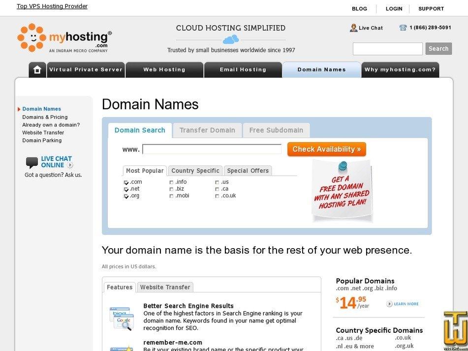Screenshot of .com from myhosting.com