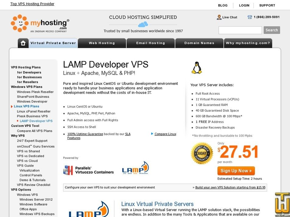 Screenshot of Developer + LAMP from myhosting.com