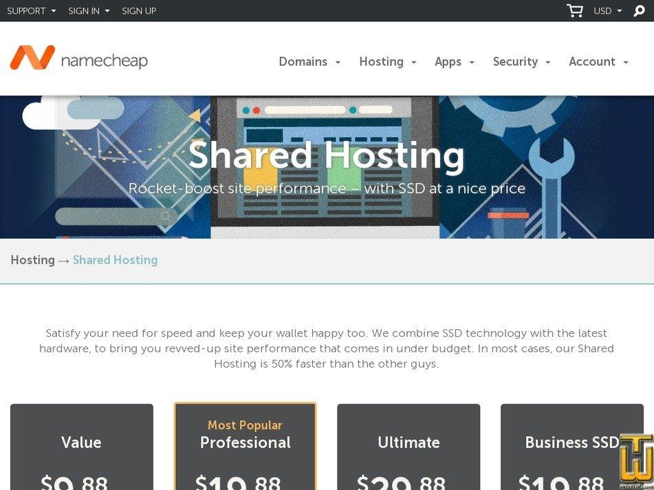 Screenshot of Value from namecheap.com