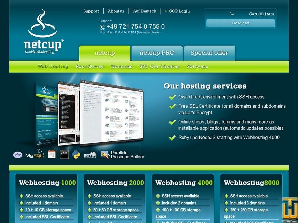 Screenshot of Webhosting 1000 from netcup.de