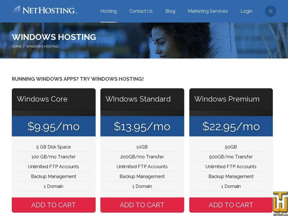 Screenshot of Windows Core from nethosting.com