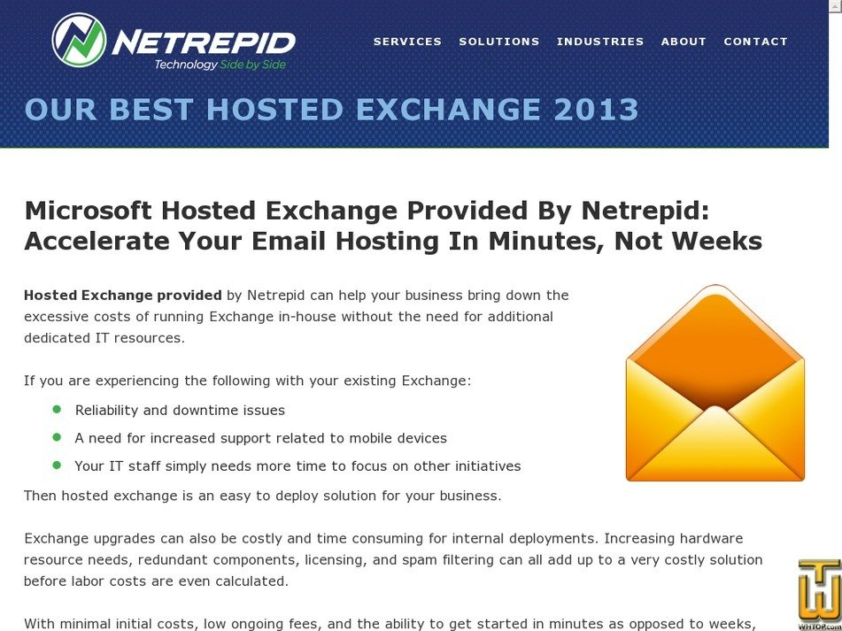 Screenshot of Hosted Exchange 2010 Plus from netrepid.com