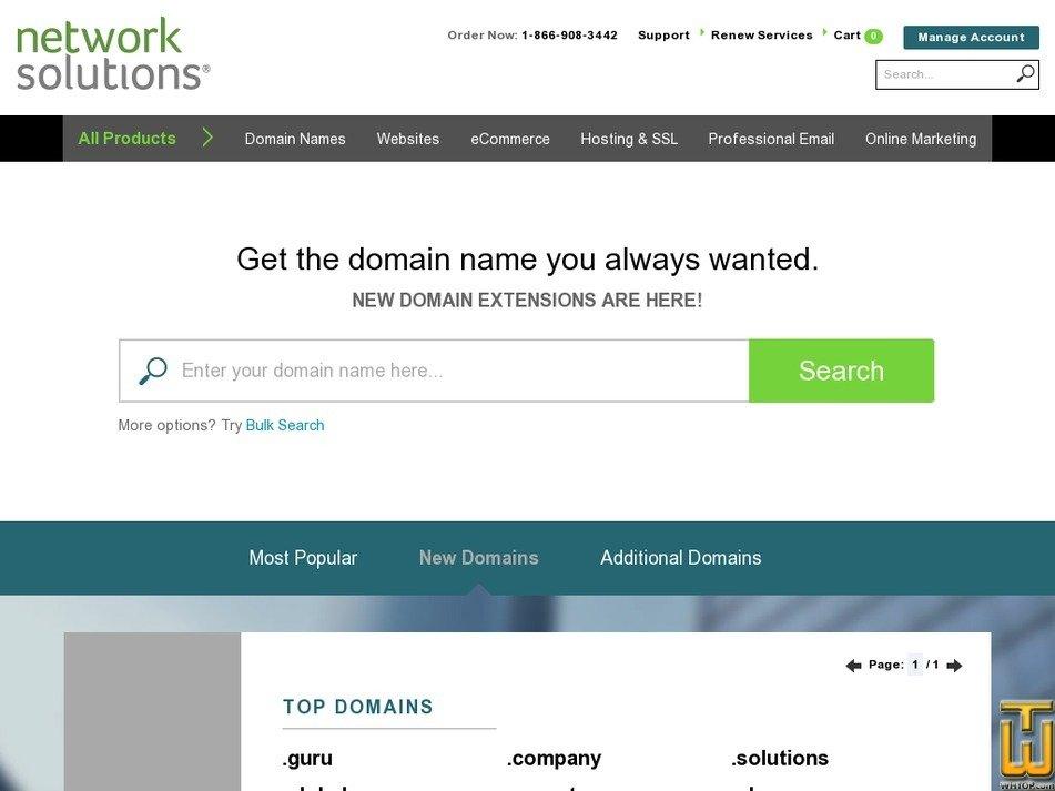 Screenshot of .com from networksolutions.com
