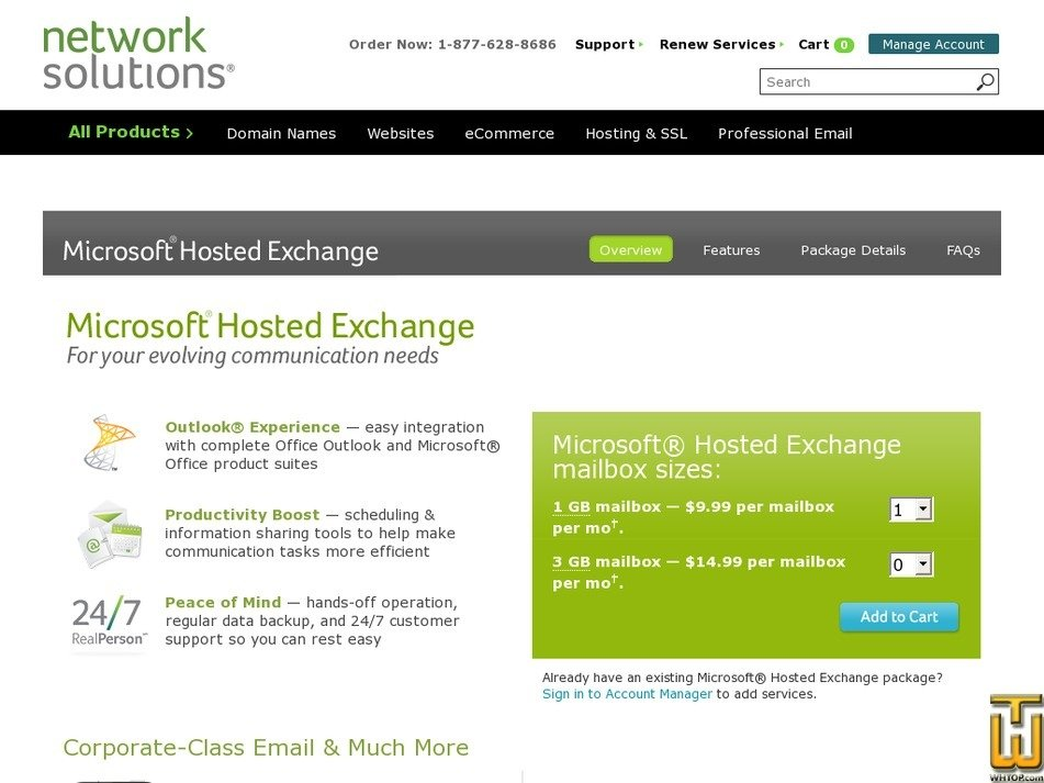 Screenshot of Microsoft Hosted Exchange from networksolutions.com