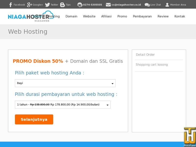 Screenshot of Unlimited Hosting - Bayi from niagahoster.co.id