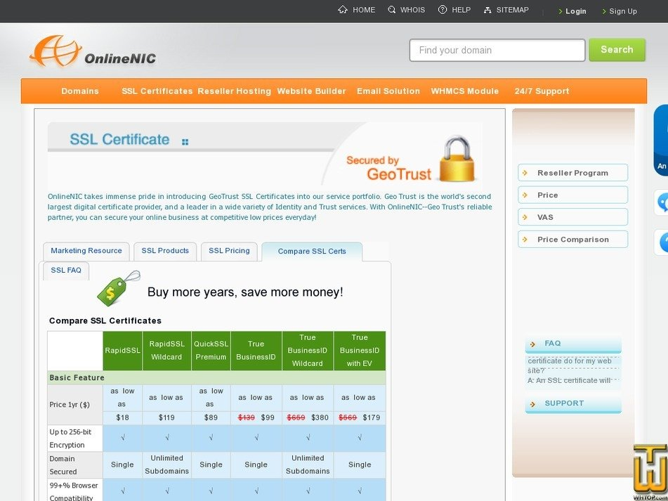 Screenshot of True BusinessID from onlinenic.com