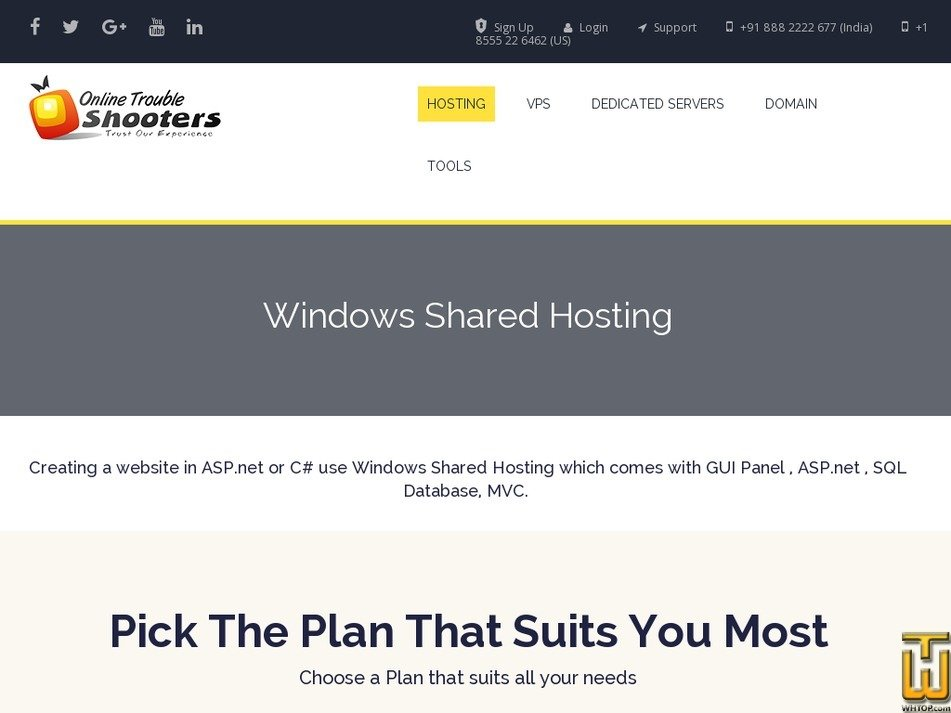 Screenshot of Windows Shared Hosting-WX from onlinetroubleshooters.com