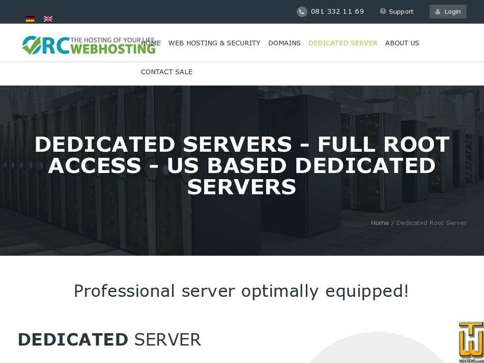 Screenshot of Dedicated Server US D2 from orcwebhosting.com