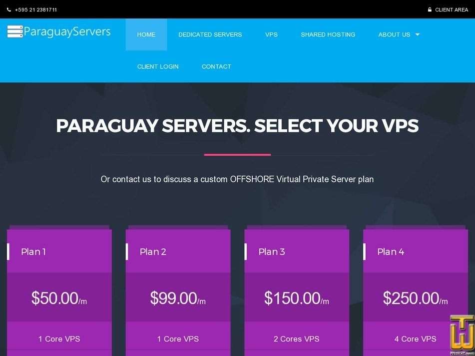 Screenshot of VPS PLan 1 from paraguayservers.com