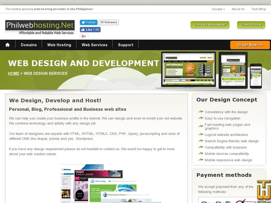 Screenshot of Web Design Services from philwebhosting.net