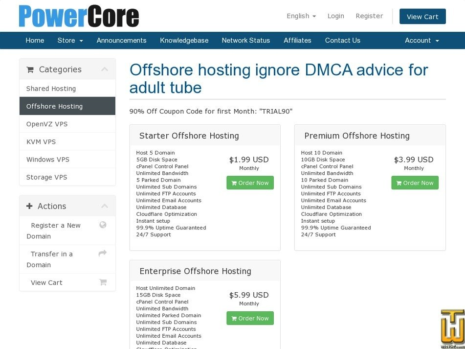 Screenshot of Enterprise Offshore Hosting from powercore.host