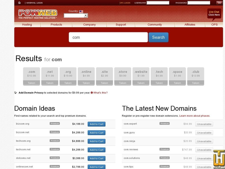 Screenshot of .COM from powweb.com